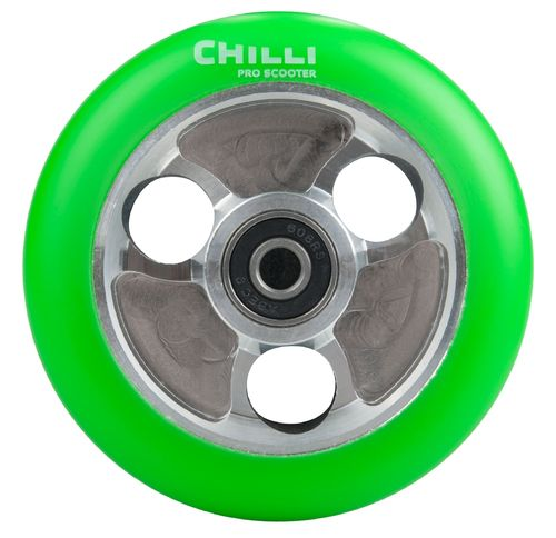 Chilli Pro Scooter Ersatzrolle Wheel Parabol 100mm green PU / silver core