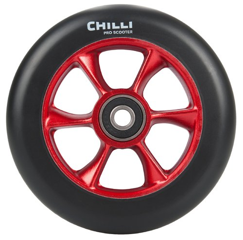 Chilli Pro Scooter Ersatzrolle Wheel Turbo 110mm black PU / red core