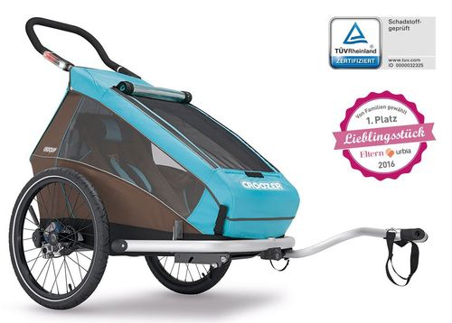 Croozer Kid Plus for 1 ab 2016 mit Licht gefedert mit Buggy-, Walker- und Fahrrad-Opt. sky-blue ***