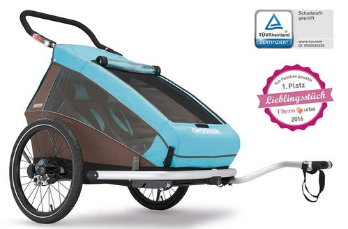 Croozer Kid Plus for 2 ab 2016 mit Licht gefedert mit Buggy-, Walker- und Fahrrad-Opt. sky-blue ***