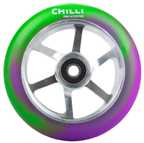 Chilli Pro Scooter Ersatzrolle Wheel 6-Spoked 110mm purple-green PU / silver core