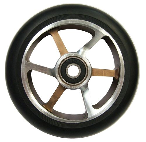 Chilli Pro Scooter Ersatzrolle Wheel 6-Spoked 110mm black PU / silver-choco core