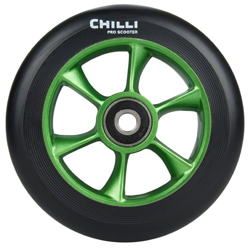 Chilli Pro Scooter Ersatzrolle Wheel Turbo 110mm black PU / green core