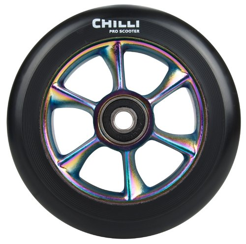 Chilli Pro Scooter Ersatzrolle Wheel Turbo 110mm black PU / rainbow core