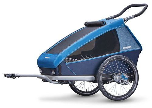 Croozer Kid Plus for 2 ab 2018 gefedert mit Licht, Fahrrad-, Buggy- und Jogging-Option ocean-blue